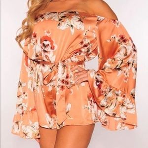 Peach Floral Off Shoulder Bell Sleeves